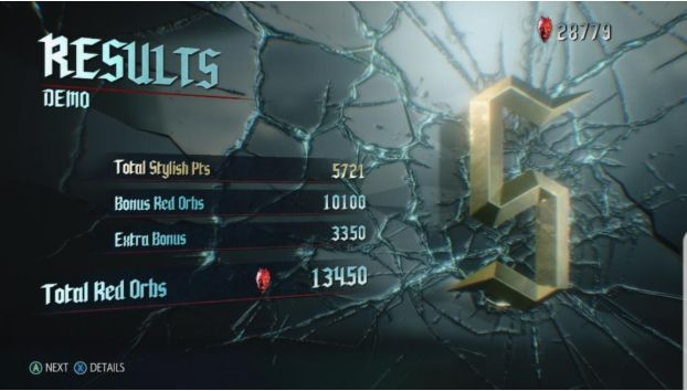 Result screen Devil May Cry 5